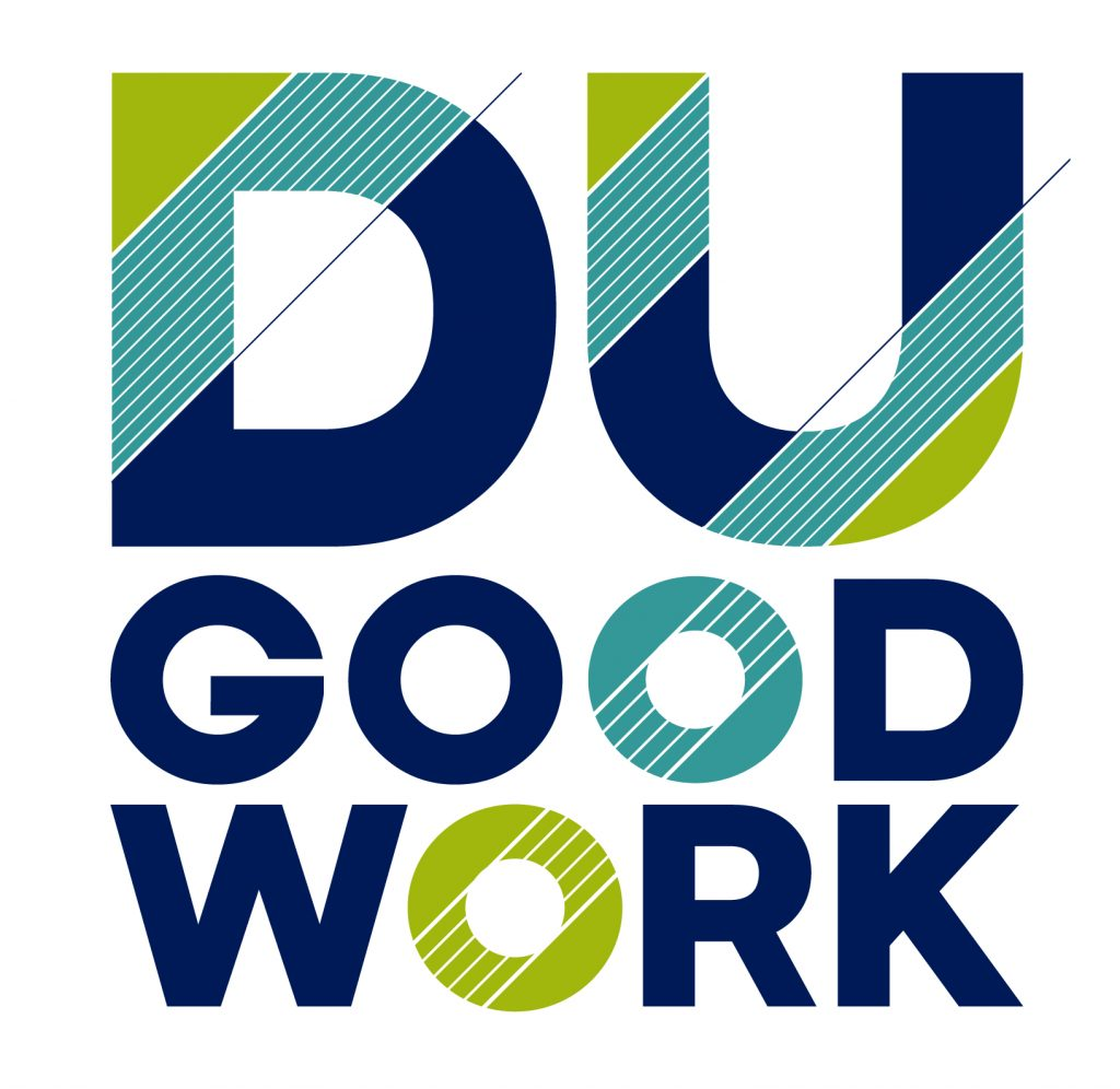 DU Good Work Logo letters in blue and green