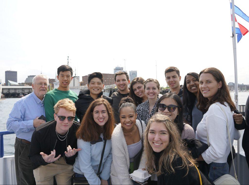 Duke Engage Boston 2019 group on a boat tour in Boston.