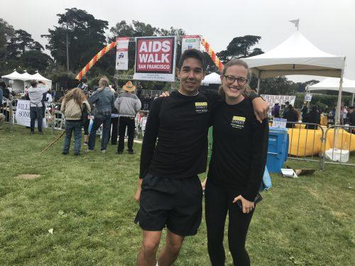 Two students posing at San Francisco AIDS walk