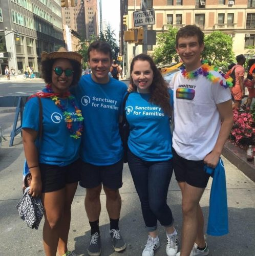 Four students in New York at 2016 Pride.