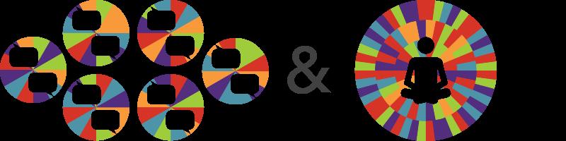 graphic representing five seminar colors mixed